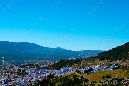 Fotobehang Oceanië cityscape of famous blue town chefchaouen in rif mountains, morocco