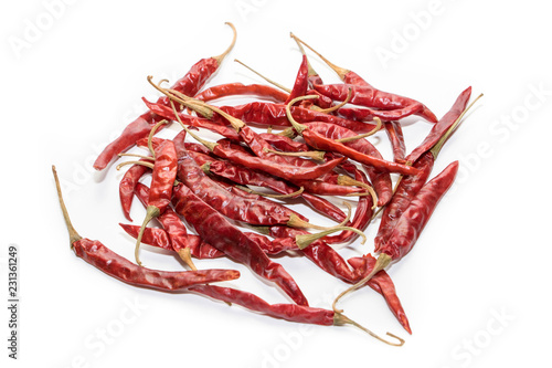 Photo  dried chilli on  white background