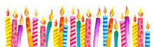 Stylized Birthday Candles In A Row. Hand Drawn Cartoon Watercolor Sketch Illustration