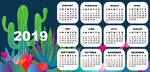 2019 Colorful Calendar With Exotic Flowers.