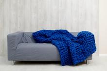 Blue Merino Wool Blanket On Gr...