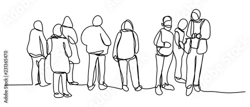 Continuous line art or One Line Drawing of people walking