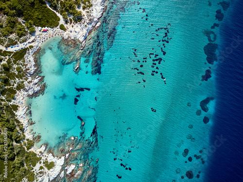 Deurstickers Kristallen Beautiful beach top aerial view drone shot