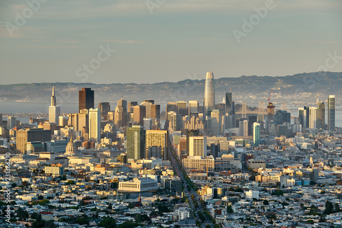 In de dag Amerikaanse Plekken San Francisco skyline, California