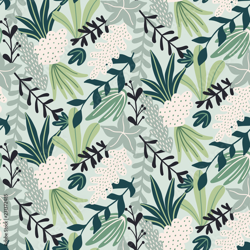 fototapeta na szkło Modern seamless pattern with tropical leaves. Trendy pattern design. Good for printing. Vector wallpaper.