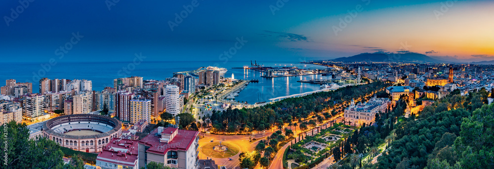 Fototapeta Night aerial panorama of Malaga, Spain with skyscrapers, streets, port, city hall and park during golden hour