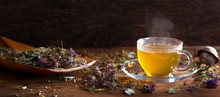 Cup Of Herbal Tea With Various...