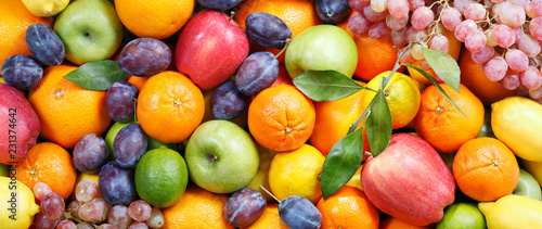 Poster Fruits mix of fresh fruits as background
