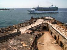 Cruise Ship Entering San Juan Bay Past Castillo San Felipe Del Morro