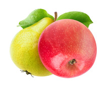 Two Isolated Fruits On A Branch. Yellow Green Pear And Red Apple With Leaves Isolated On White Background With Clipping Path