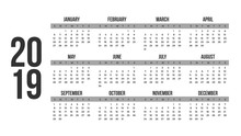 Vector Of 2019 New Year Calendar In Clean Minimal Table Simple In Grey Color,Holiday Event Planner,Week Starts Sunday.