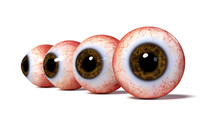 Group Of Realistic Human Eyeballs With Brown Iris, Isolated With Shadow On White Background (3d Illustration)