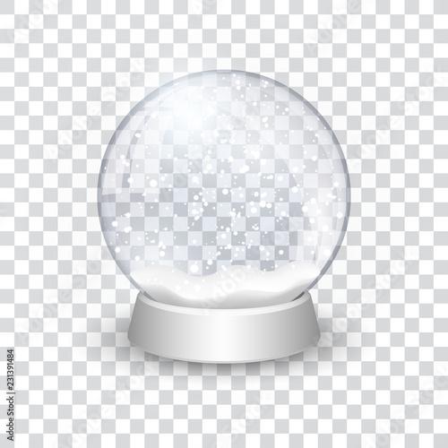 Fotografía  snow globe ball realistic new year chrismas object isolated on transperent backg