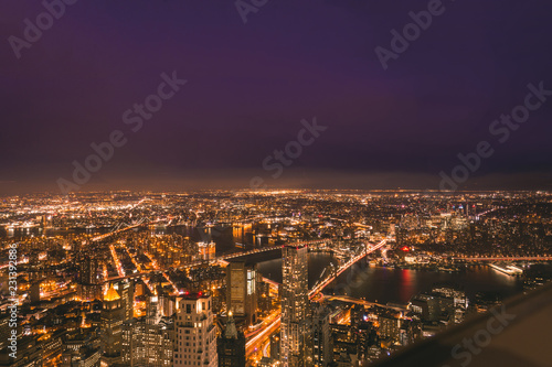Poster Stad gebouw Amazing Panoramic Aerial View over New York City at Night