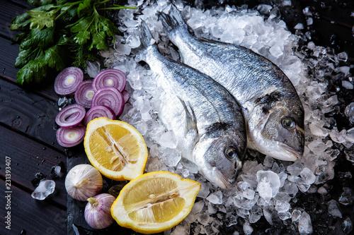 Fotografie, Obraz  Fresh Dorado fish, with vegetables, herbs, lemon with pieces of ice on a black b