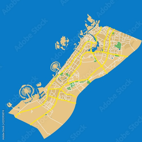 Naklejka premium Szczegółowa płaska mapa miasta w Emiratach Arabskich - Dubaj