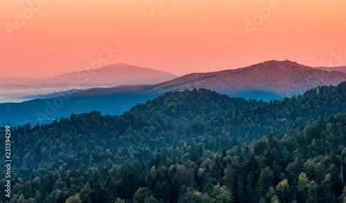Foto auf Gartenposter Gebirge Moments before sunrise in misty Carpathian mountains, autumn, Poland