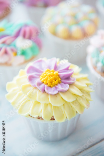 Many sweet birthday cupcakes with flowers and butter cream Canvas Print