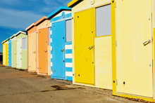 Seaside Beach Huts On Seaford Beach, East Sussex. England, Selective Focus