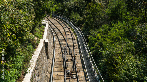 The branched line of the railway on a summer day in Sunny weather