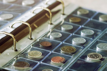 Coin Collecting. Close-up View...