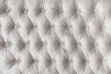 White Capitone Tufted Fabric U...