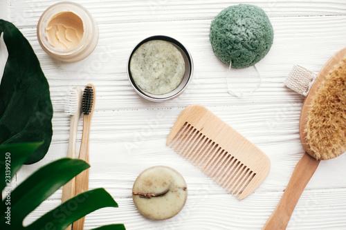 Zero waste flat lay  Solid shampoo bar, bamboo toothbrushes