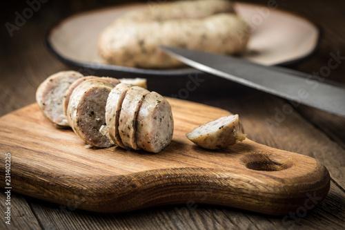 Fotografie, Obraz  Sliced tasty white sausage.