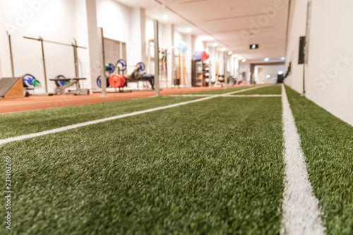 Fotografía Artificial grass in the sport hall with the gym in background