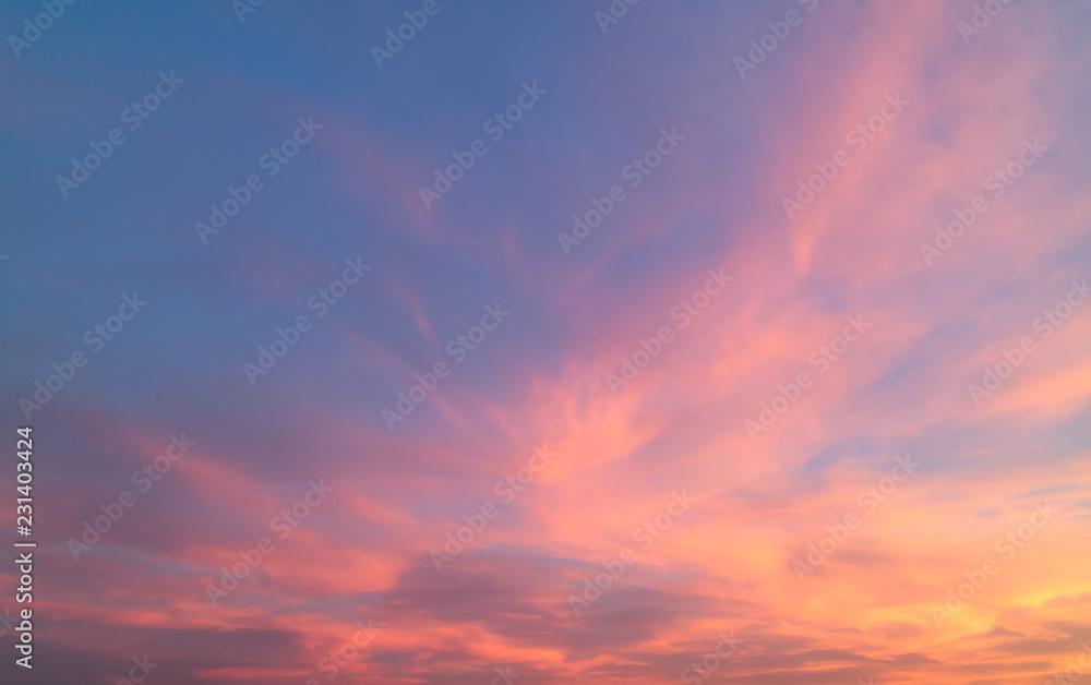 Fototapeta Beautiful pastel cloudy sunset