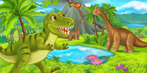 cartoon scene with happy dinosaur tyrannosaurus rex near erupting volcano and diplodocus - illustration for children
