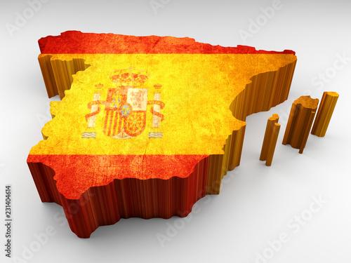 Spain 3d textured map with a Spanish flag © navarro raphael