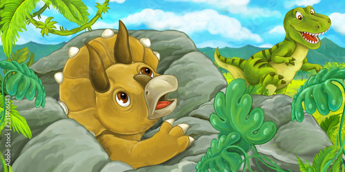 Photo  cartoon scene with triceratops hidind behind the rock from tyrannosaurus rex - i
