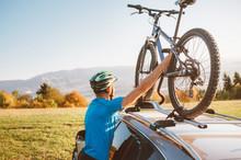 Mountain Biker Man Take Of His...