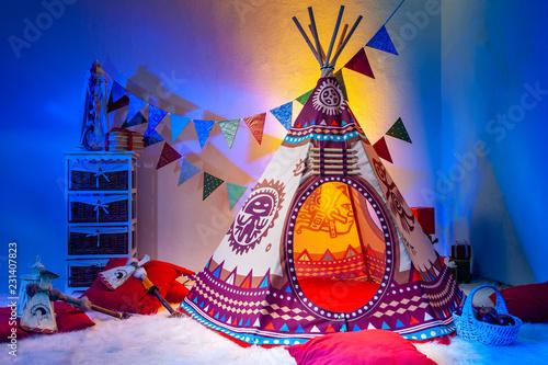 Obraz na płótnie Children's room. Indians. Playroom for children. Needle. TIPI.