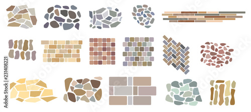 Valokuvatapetti Set of vector paving tiles and bricks patterns from natural stone
