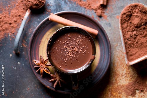 Delicious hot chocolate with spices.