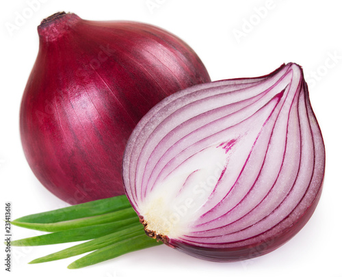 Photo Fresh red onion on white background