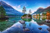 Fototapeta Nature - Fantastic autumn sunrise of Hintersee lake. Classic postcard view of Hintersee