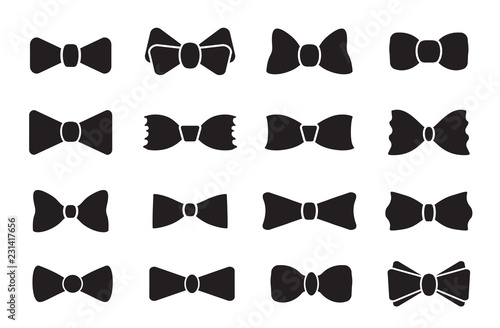 Bow tie or neck tie simple vector icon isolated on white Fototapet