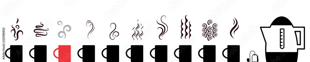 Fototapety, obrazy: Collection of hot drinks icon with steam symbols isolated