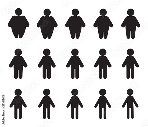 Vector People Pictograms with Fat to Thin Transformation - Buy this