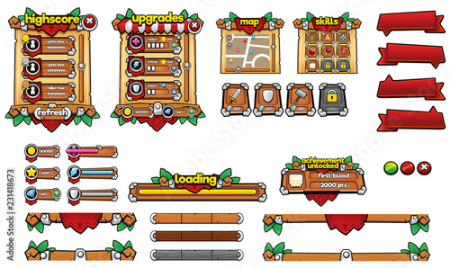 Medieval Game GUI Pack - Buy this stock vector and explore