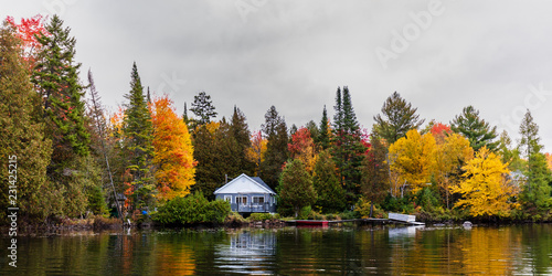 Fall colors in cottage country in the Laurentians, Quebec, Canada Canvas Print