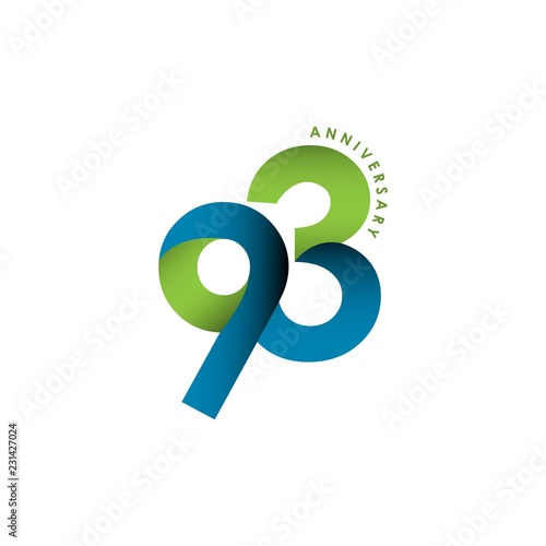 Obraz na plátně 93 Year Anniversary Vector Template Design Illustration