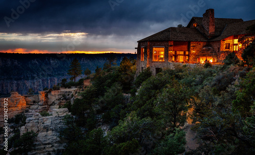 Grand Canyon North Rim Lodge after sunset Canvas Print