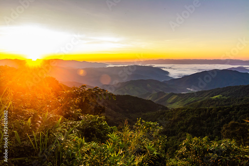 Spoed Foto op Canvas Beige landscape Mountain with sunset in Nan Thailand