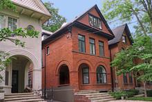 Row Of Large Older Urban Brick Houses