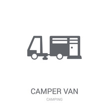 Camper Van Icon. Trendy Camper Van Logo Concept On White Background From Camping Collection