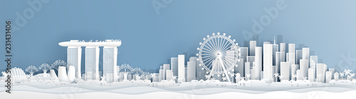 Panorama postcard of Singapore with world famous landmarks  in paper cut style v Wallpaper Mural